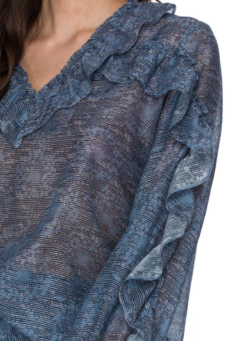 Bluza cu imprimeu si volane Ebba