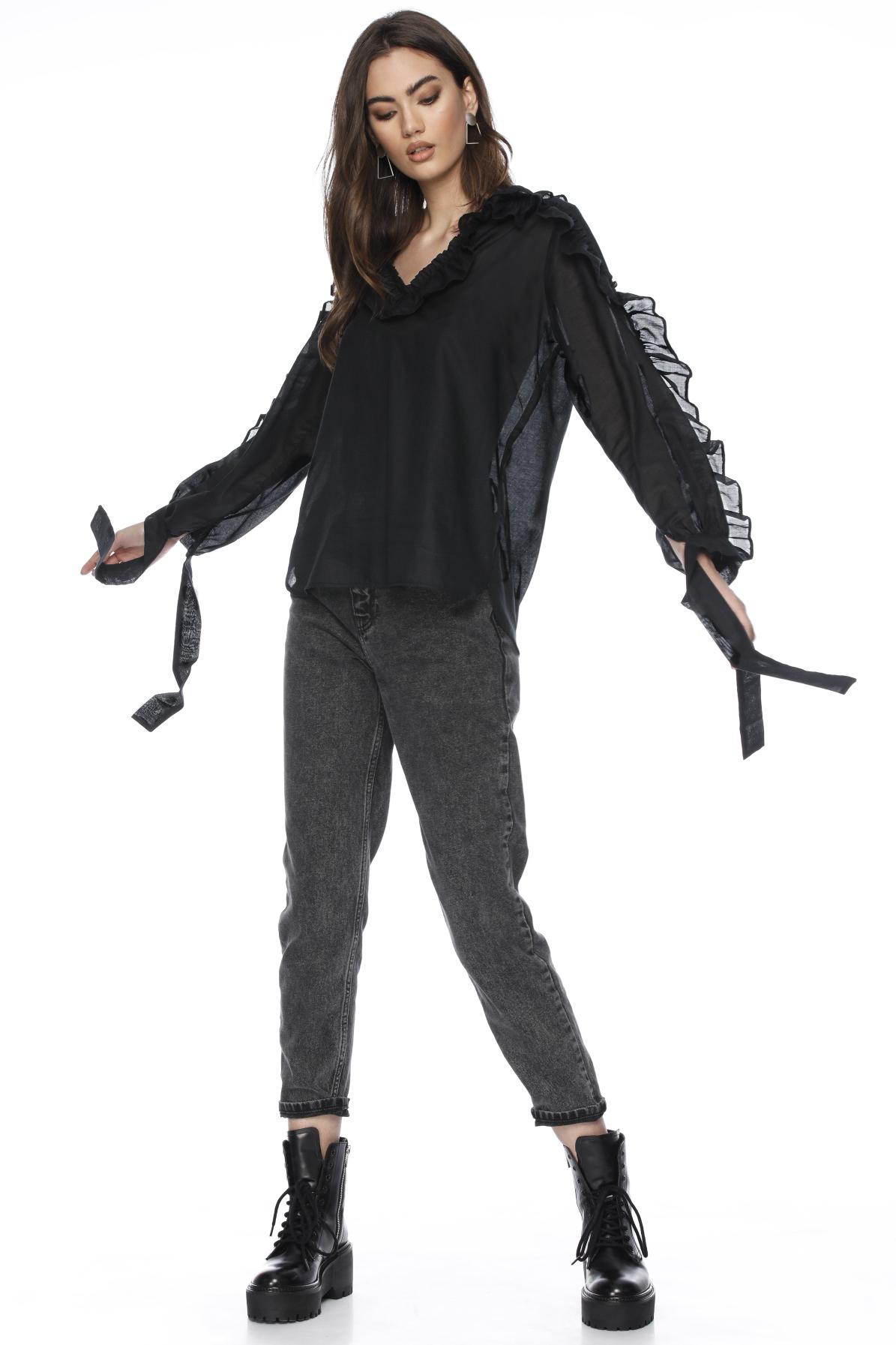 Bluza neagra din bumbac cu volane Nuala