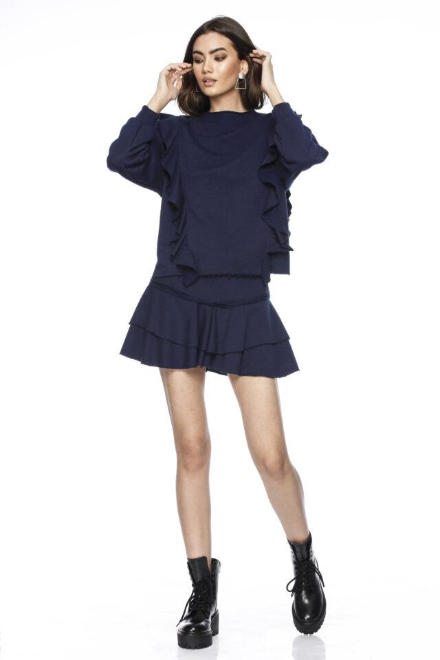 Fusta scurta tip pantalon bleumarin Callie