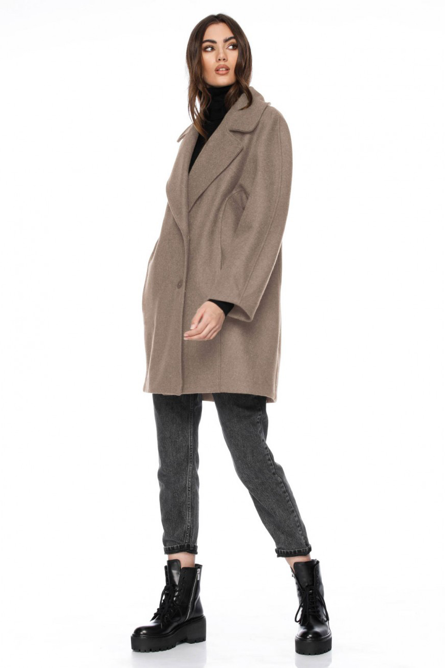 Palton dama scurt oversize bej din lana Nasya