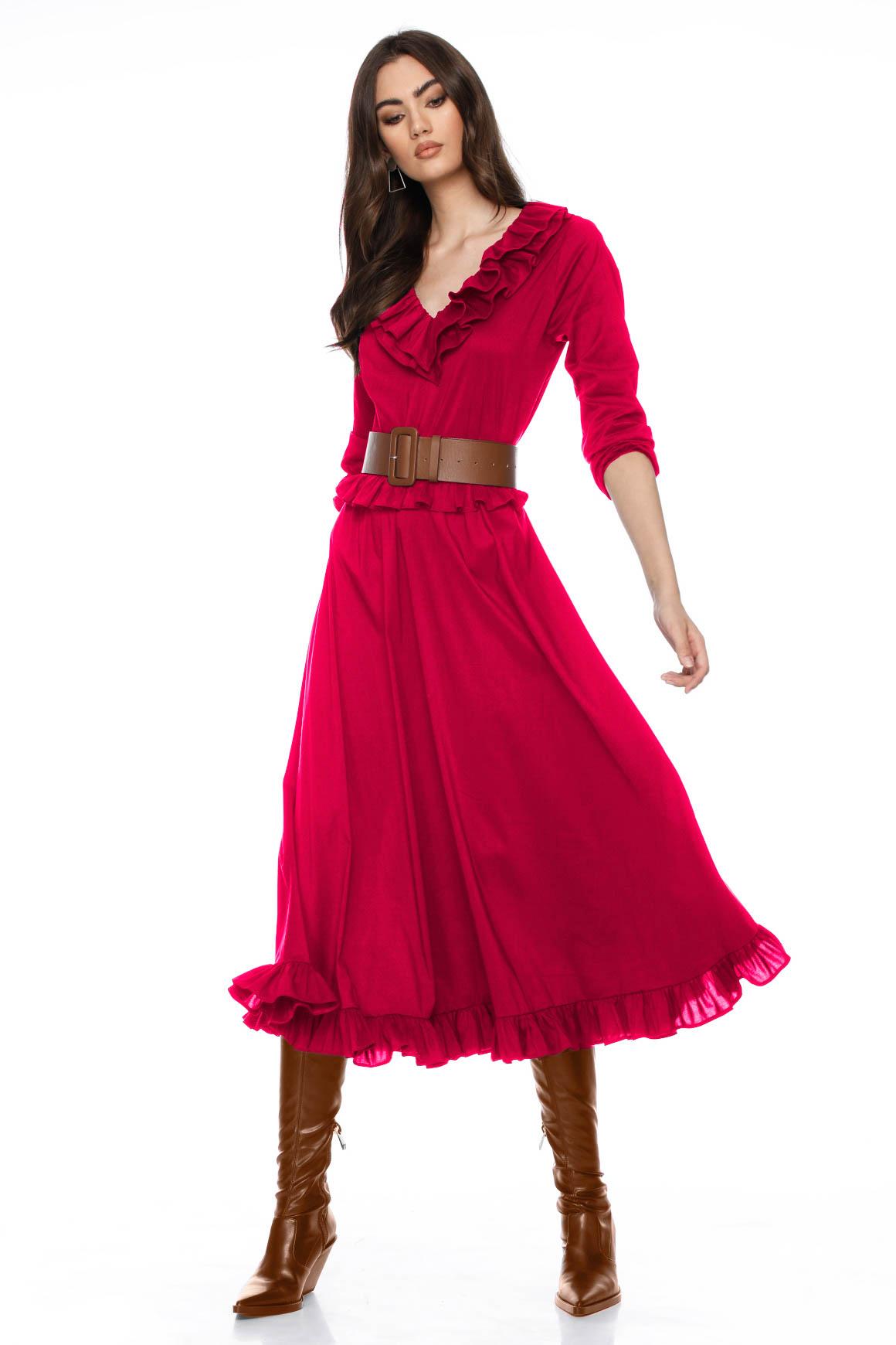 Rochie eleganta rosie midi cu volane si cordon detasabil Candice