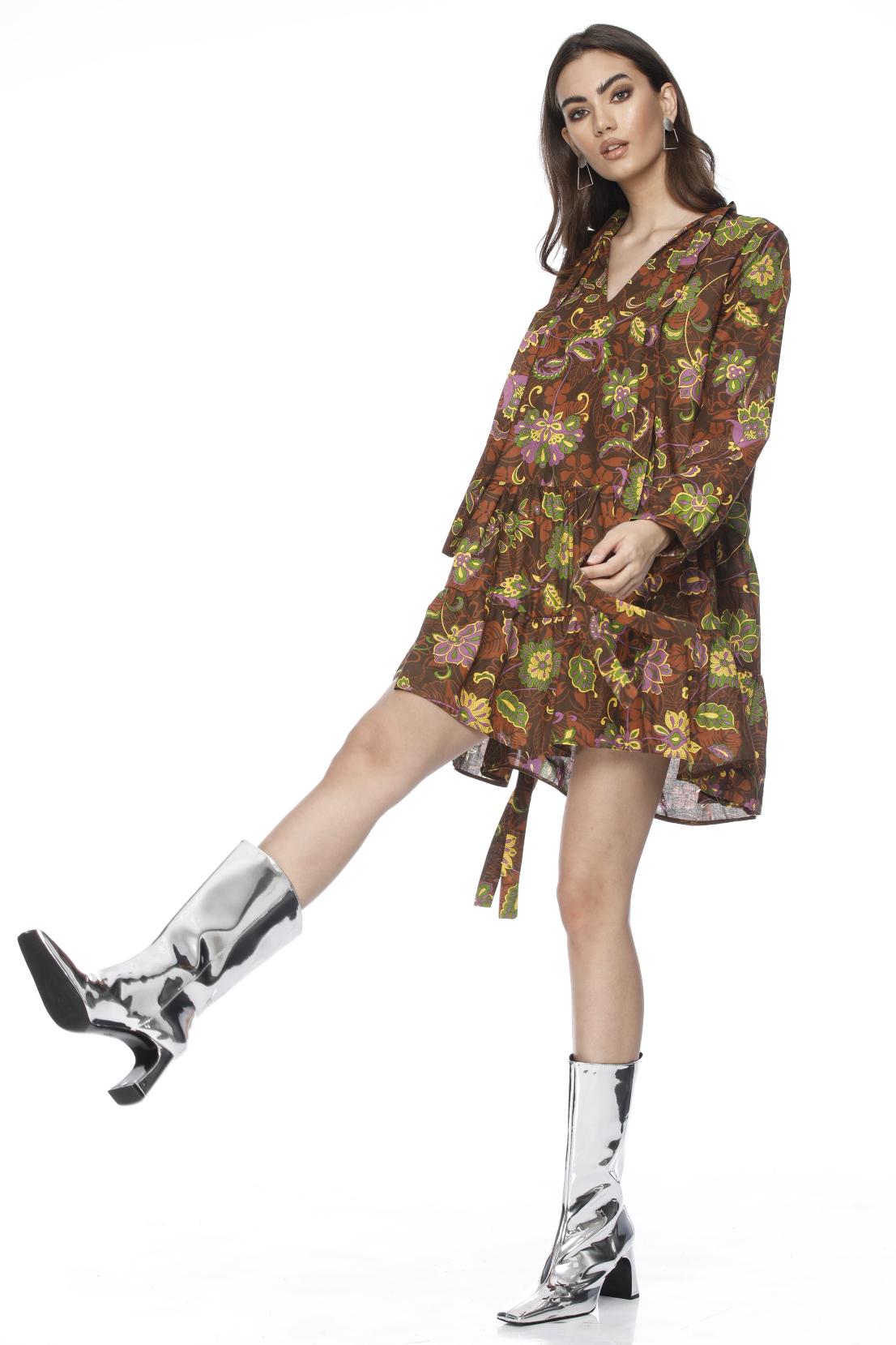 Rochie scurta eleganta cu imprimeu si volane decorative Camari