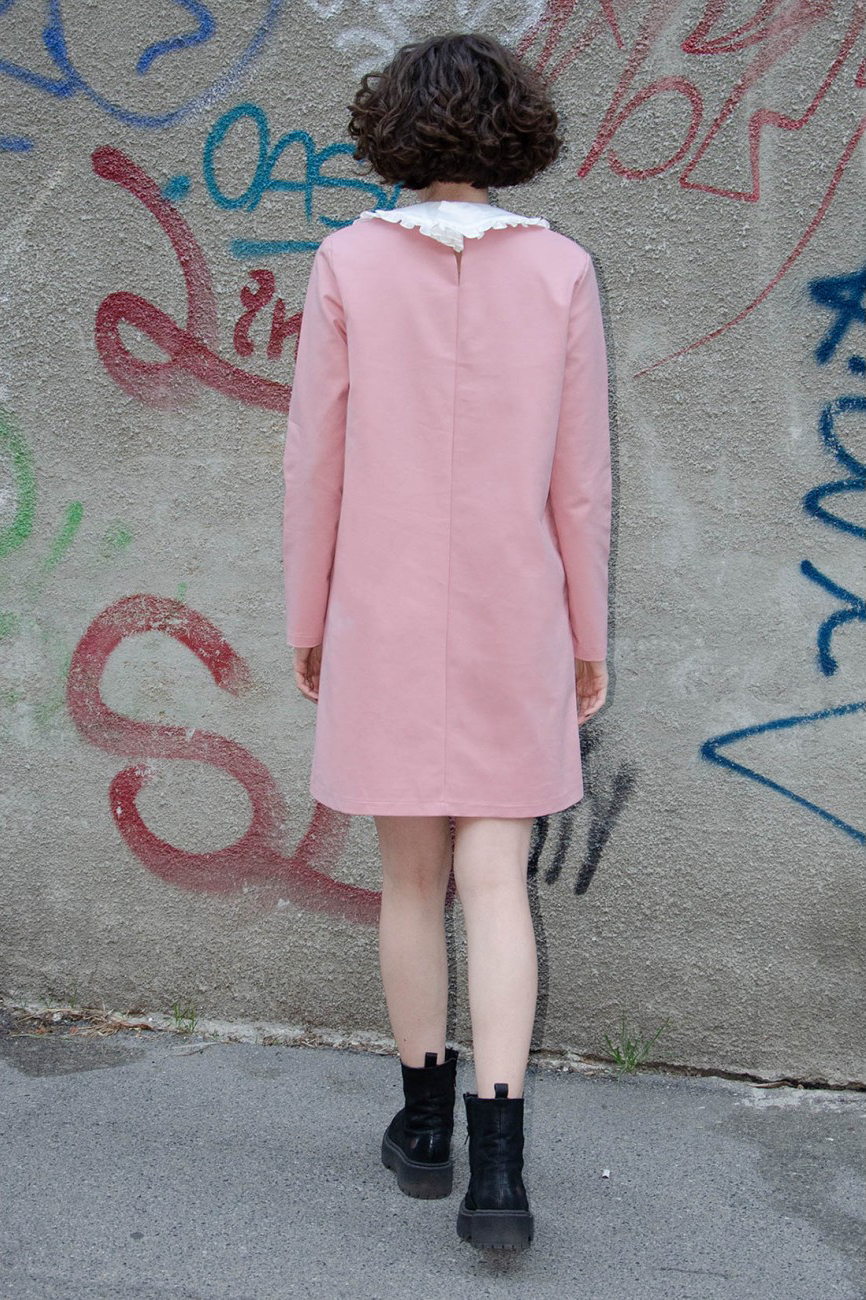 Rochie eleganta scurta roz pal Rianne