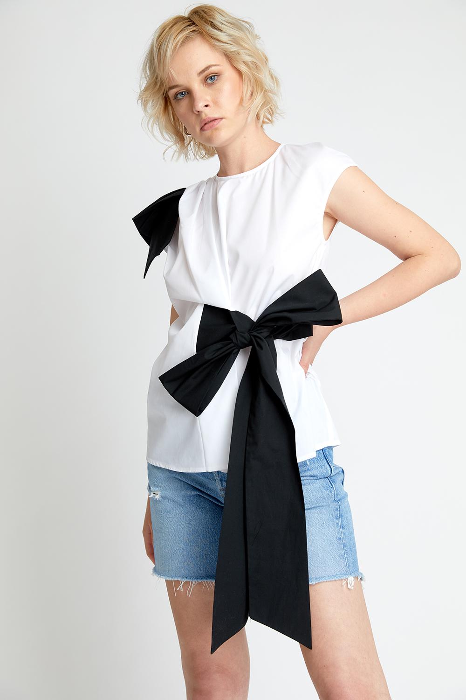 Bluza din bumbac cu funda neagra Issie