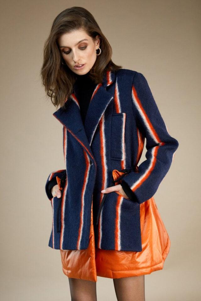 Jacheta dama bleumarin cu dungi portocalii Fionna