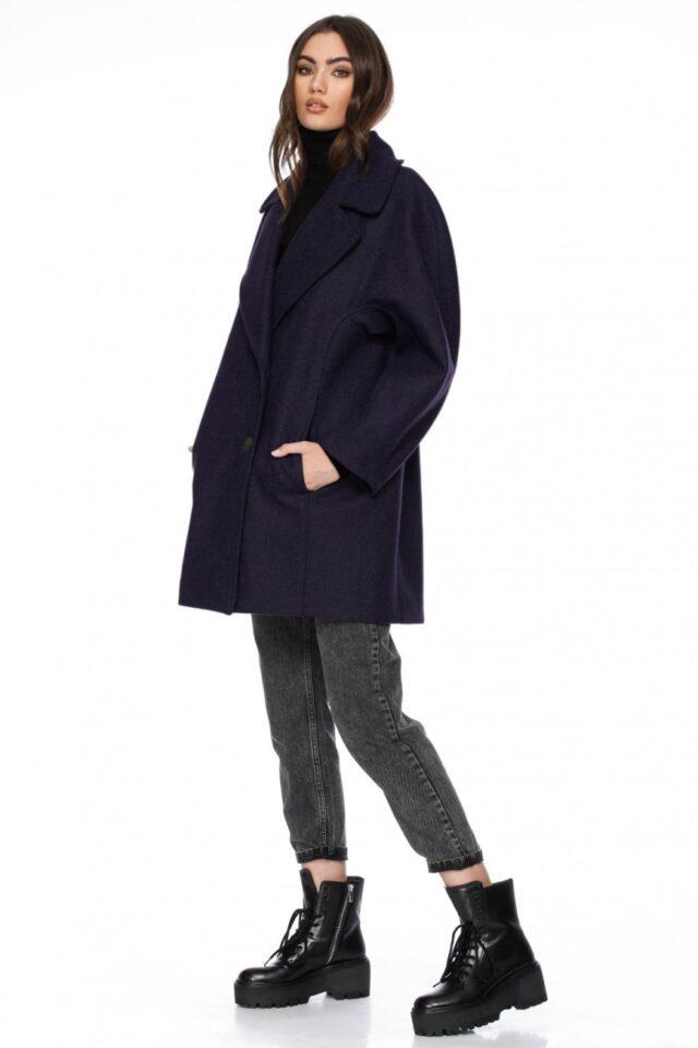 Palton dama scurt bleumarin din lana Linette