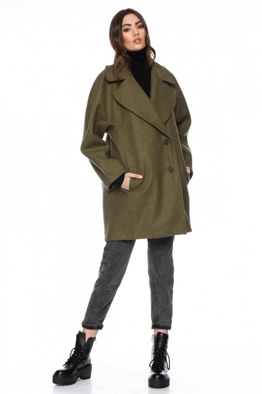 Palton dama scurt kaki din lana Maude