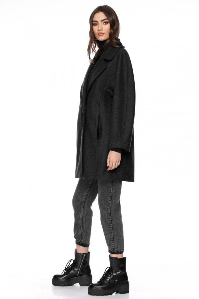 Palton dama scurt negru din lana Sage