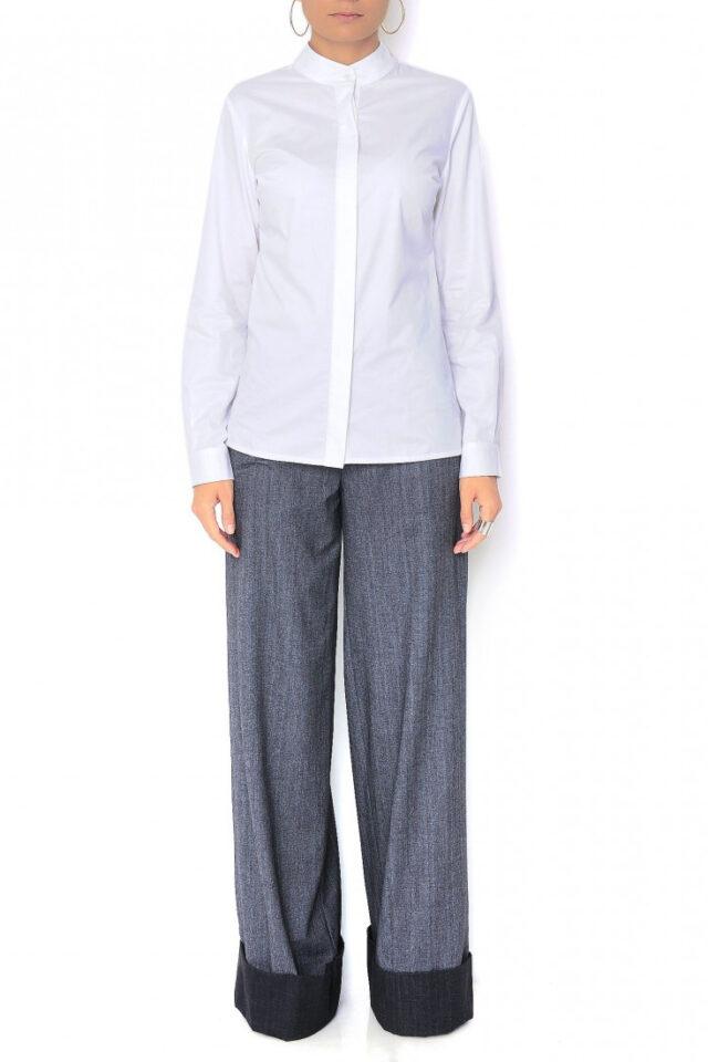 Pantaloni gri cu talie inalta Hilbert
