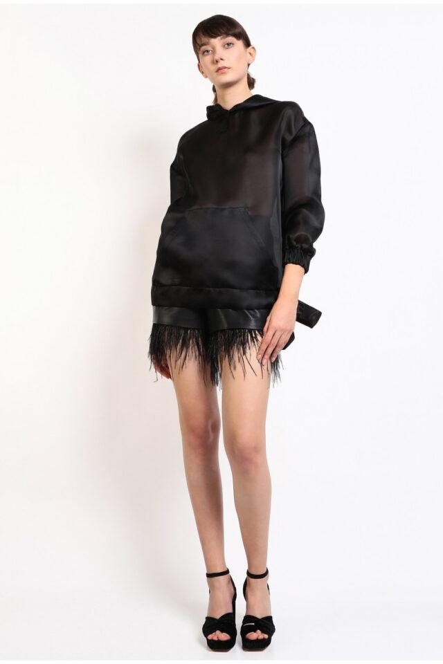 Pantaloni scurti negri din piele Esmee