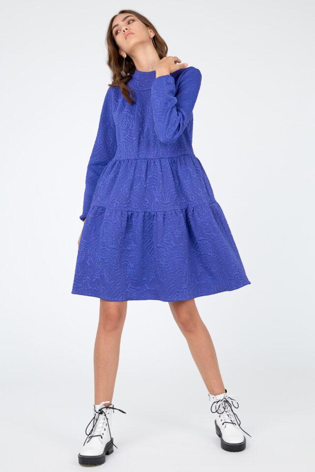 Rochie eleganta albastra din bumbac texturat Chiara
