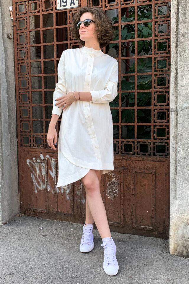 Rochie eleganta asimetrica din bumbac Shiena