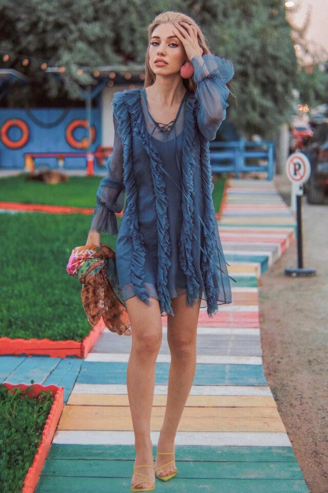 Rochie eleganta de seara albastru petrol Gardenia