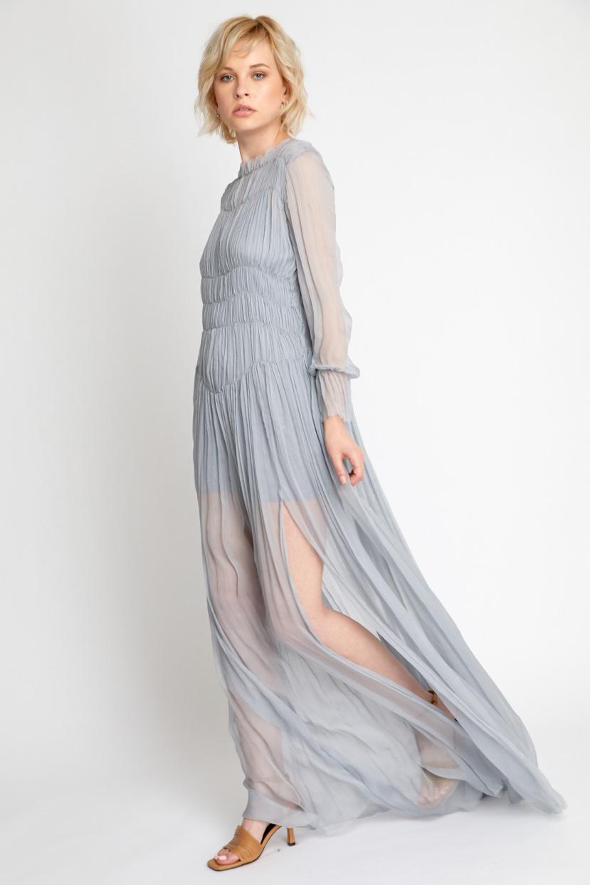 Rochie eleganta de seara lunga gri Adina