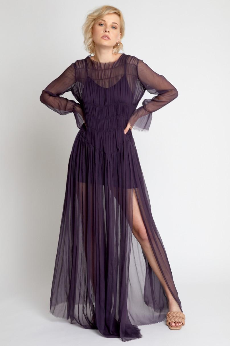 Rochie eleganta de seara lunga mov Kyra