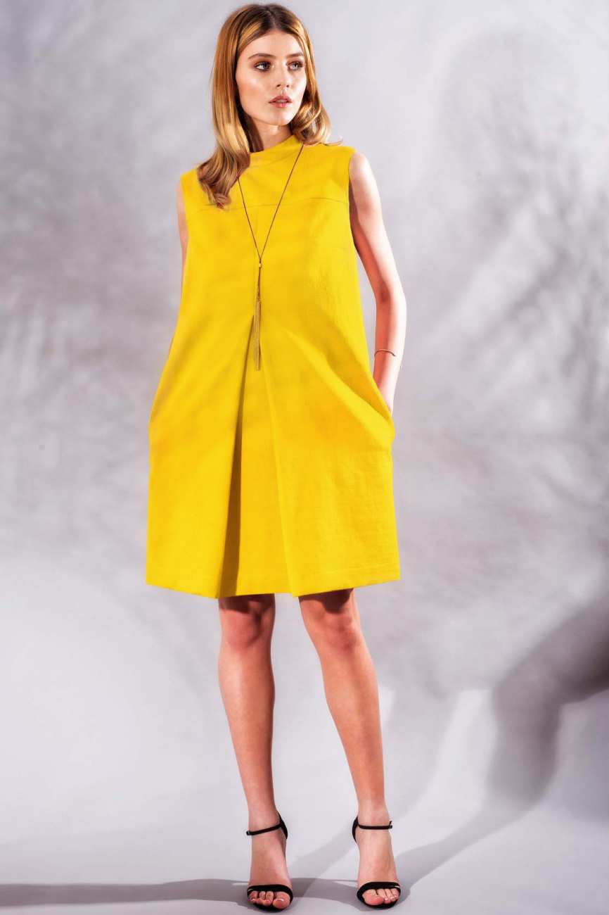 Rochie eleganta de zi din bumbac galben Faye