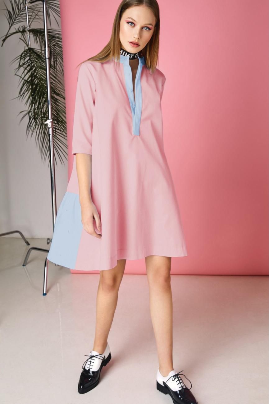 Rochie eleganta de zi roz cu bleu Hera