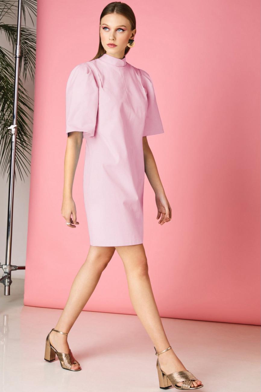Rochie eleganta de zi roz prafuit Avani cu umeri bufanti