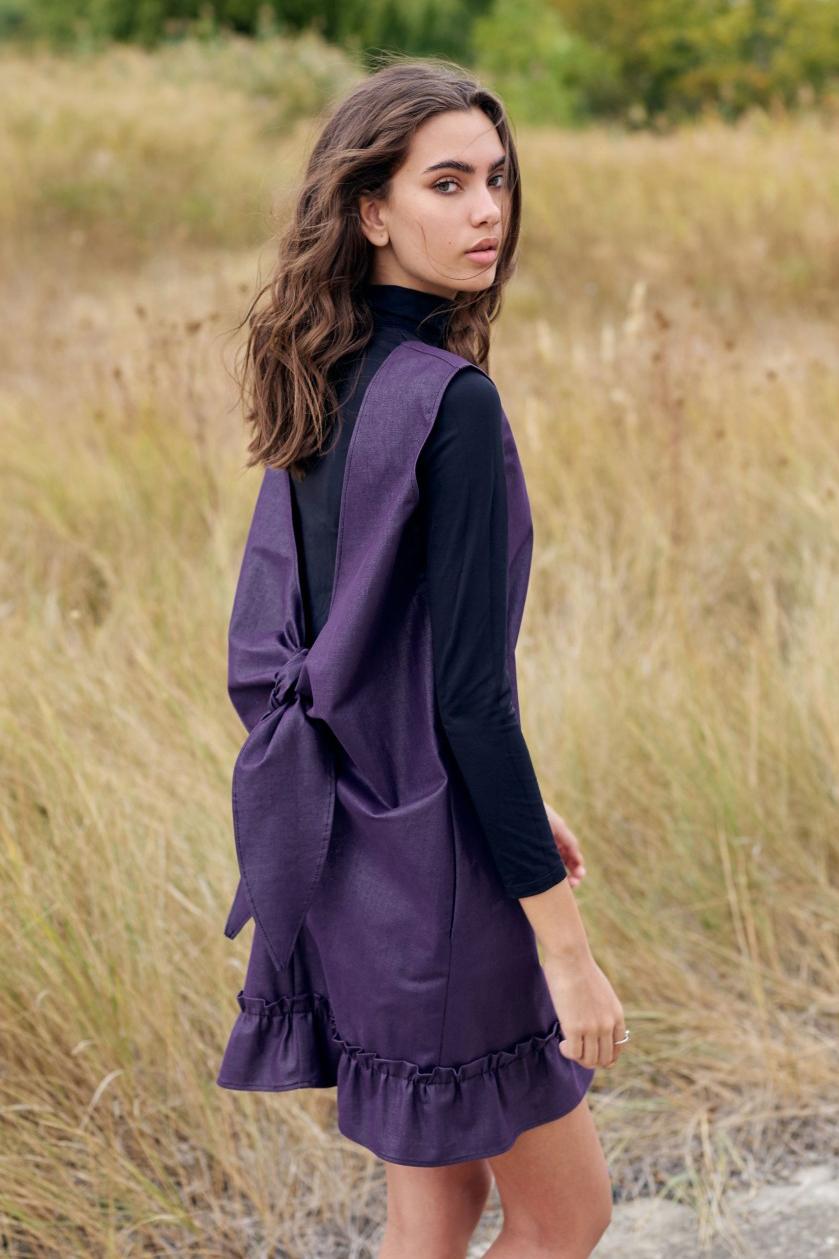 Rochie eleganta din denim cu funda la spate Lora