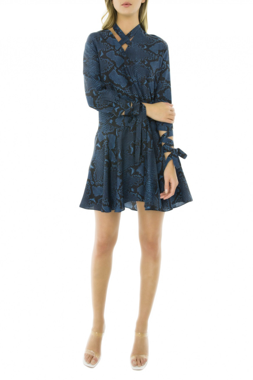 Rochie eleganta din matase fina bleumarin cu imprimeu sarpe Issa