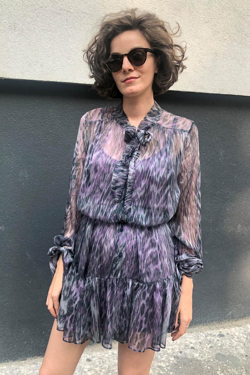 Rochie eleganta din matase imprimata Marie