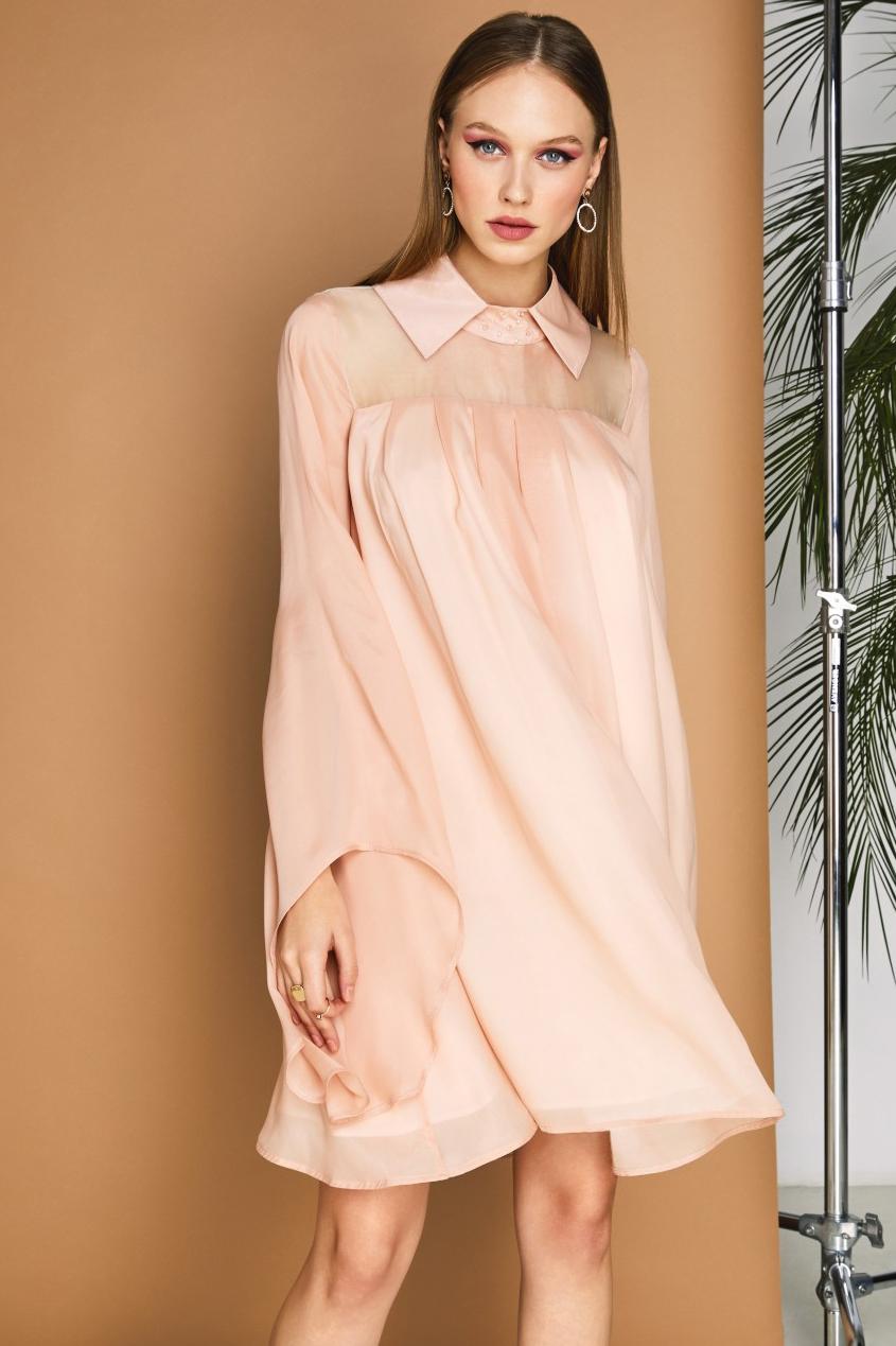 Rochie eleganta din matase roz pudra Magnolia