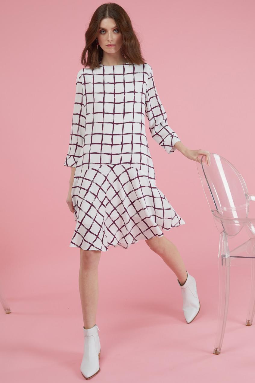 Rochie eleganta din viscoza cu imprimeu geometric Laina