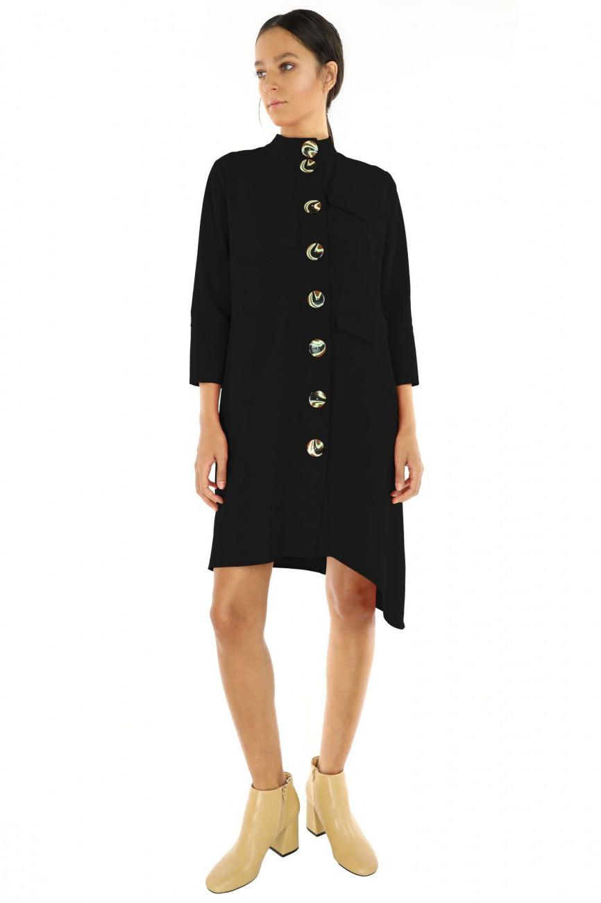 Rochie eleganta neagra din bumbac Ives