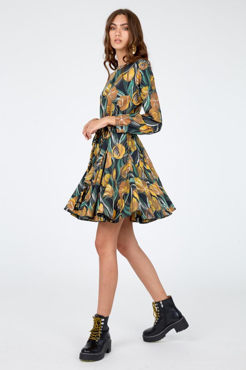 Rochie eleganta scurta din bumbac Kara cu imprimeu floral