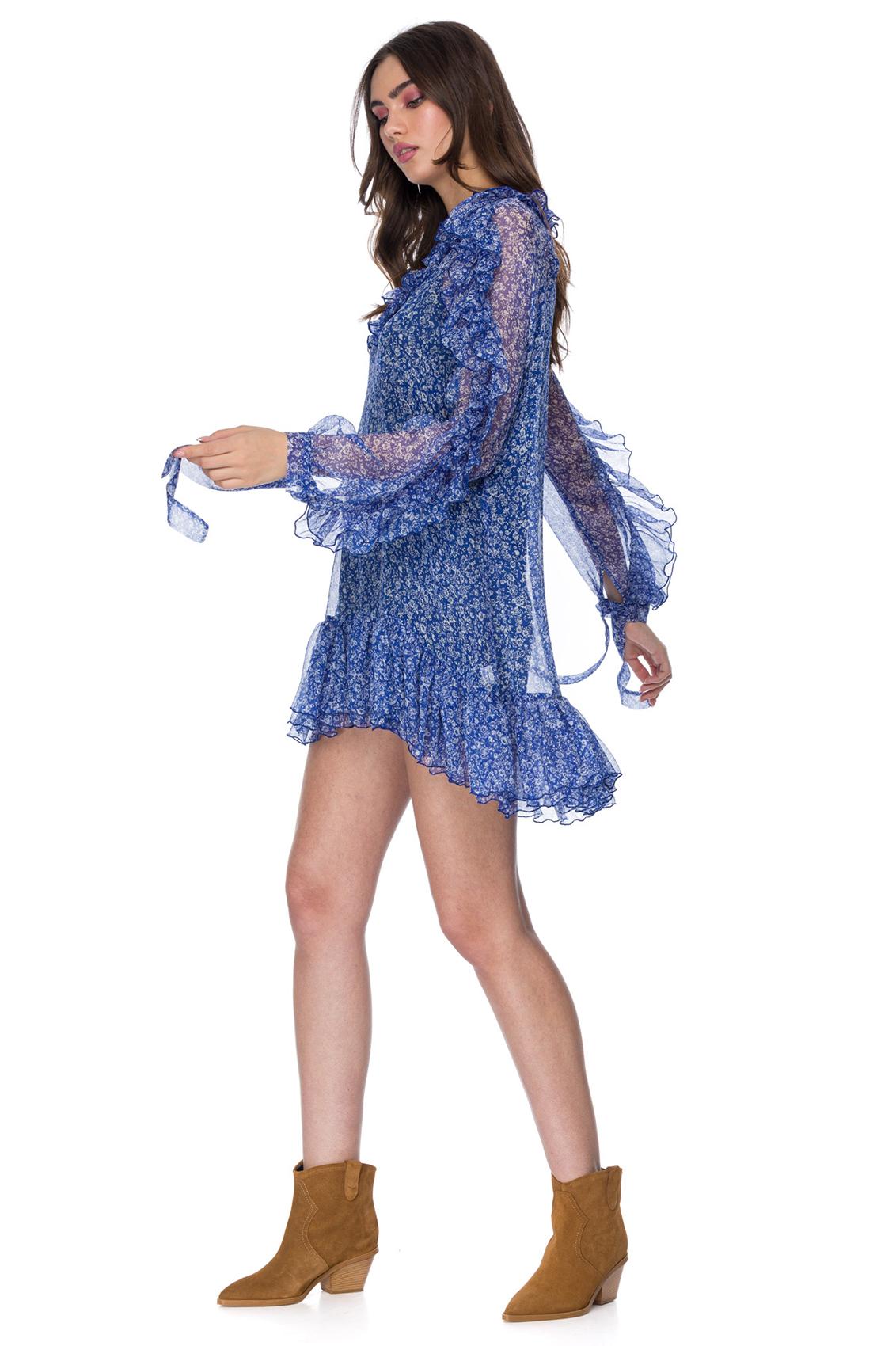 Rochie eleganta scurta din matase imprimata Cati