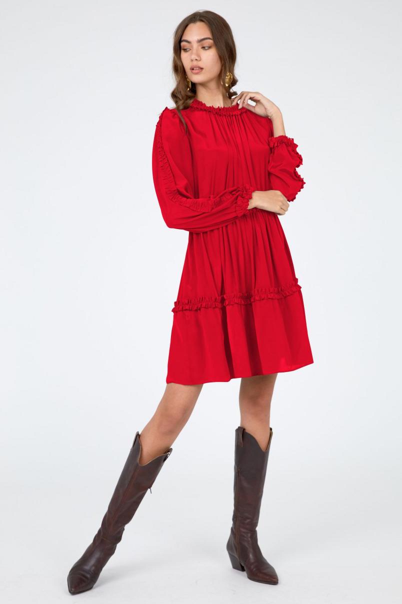 Rochie eleganta scurta din matase rosie Elma
