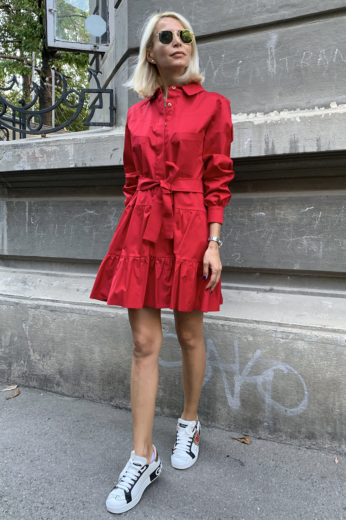 Rochie eleganta scurta rosie Orella