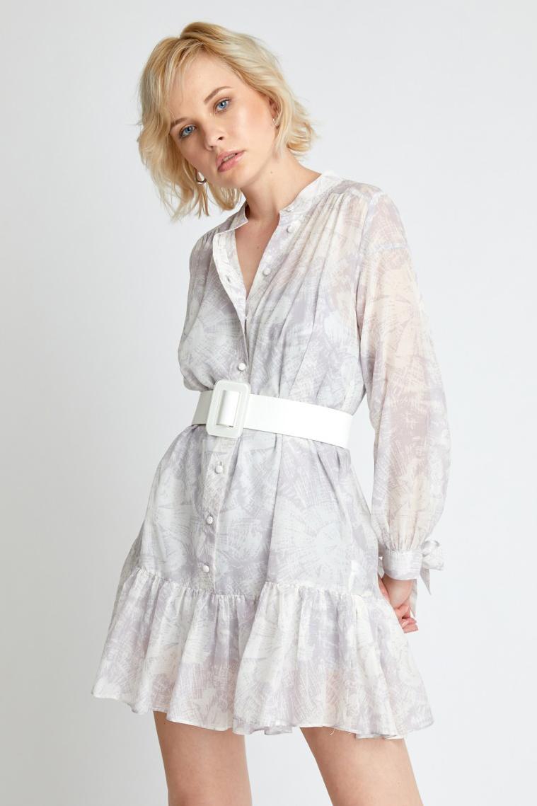Rochie eleganta scurta tip camasa alba cu imprimeu floral Britta
