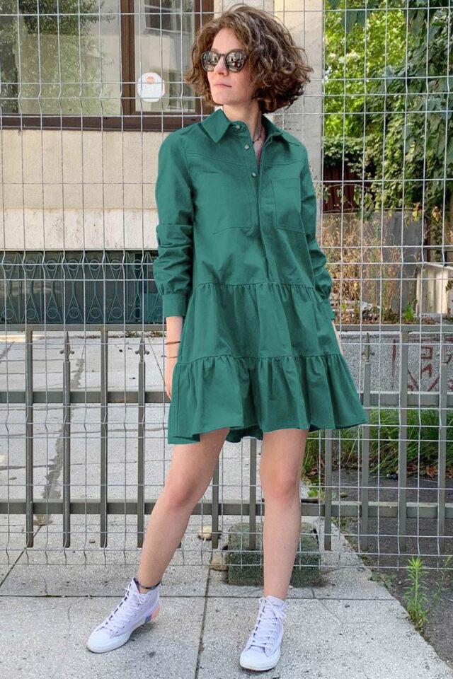 Rochie eleganta scurta verde smarald Alexis