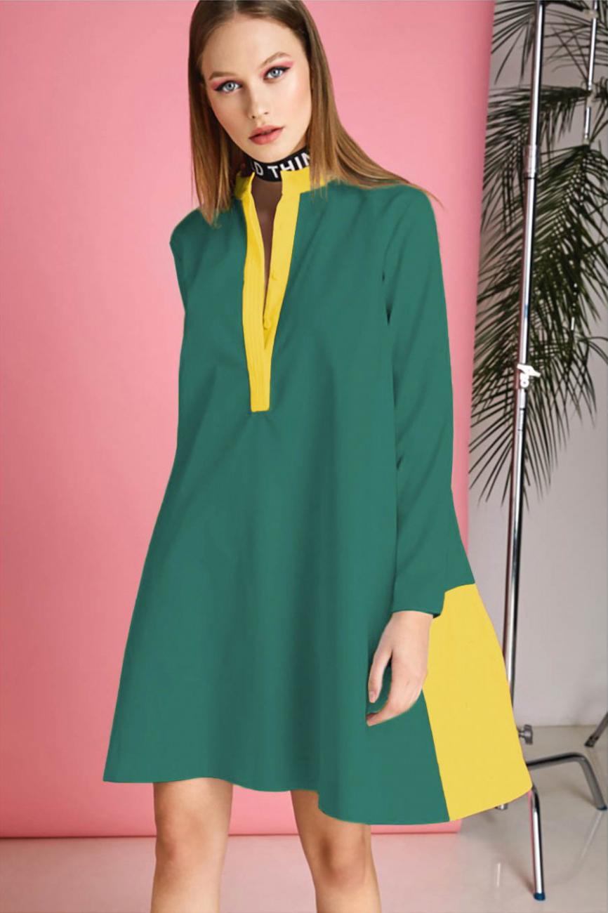 Rochie scurta eleganta verde cu galben Donna