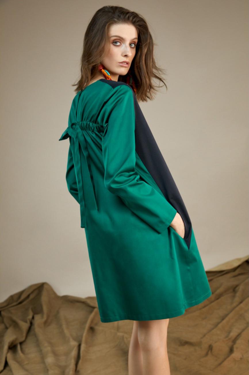 Rochie scurta eleganta verde cu negru Lexi