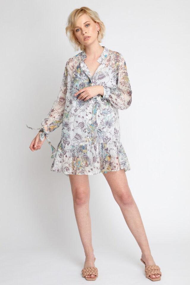 Rochie tip camasa cu imprimeu floral colorat Melodine