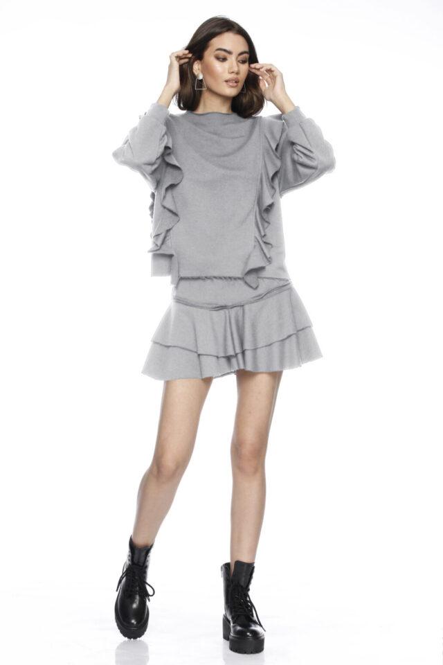 Fusta scurta tip pantalon gri Ilaria