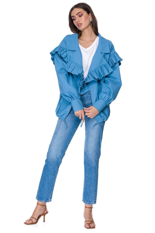 Jacheta scurta oversize albastra din bumbac Naiara