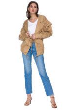 Jacheta scurta oversize bej din bumbac Dasha