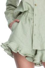 Pantaloni scurti din in menta Darbi