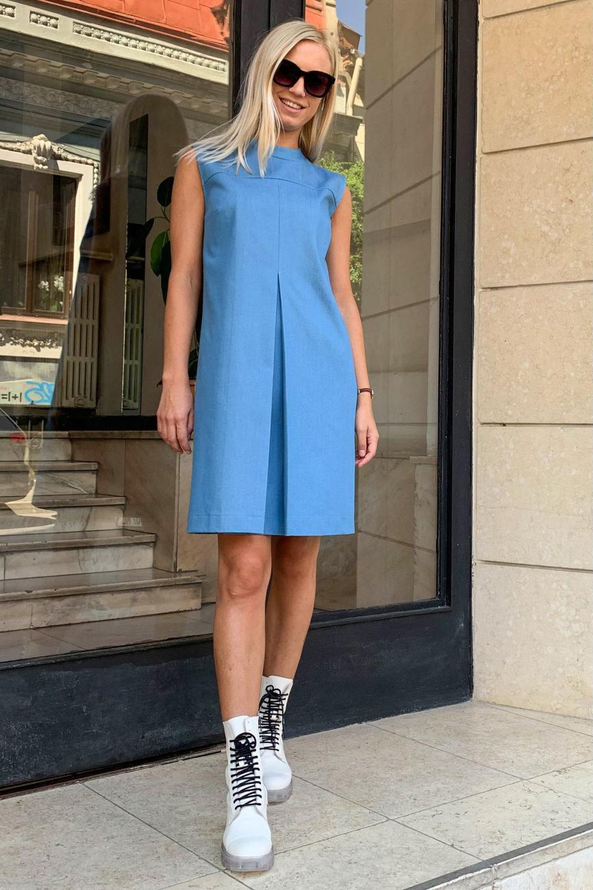 Rochie eleganta bleu din denim Melina