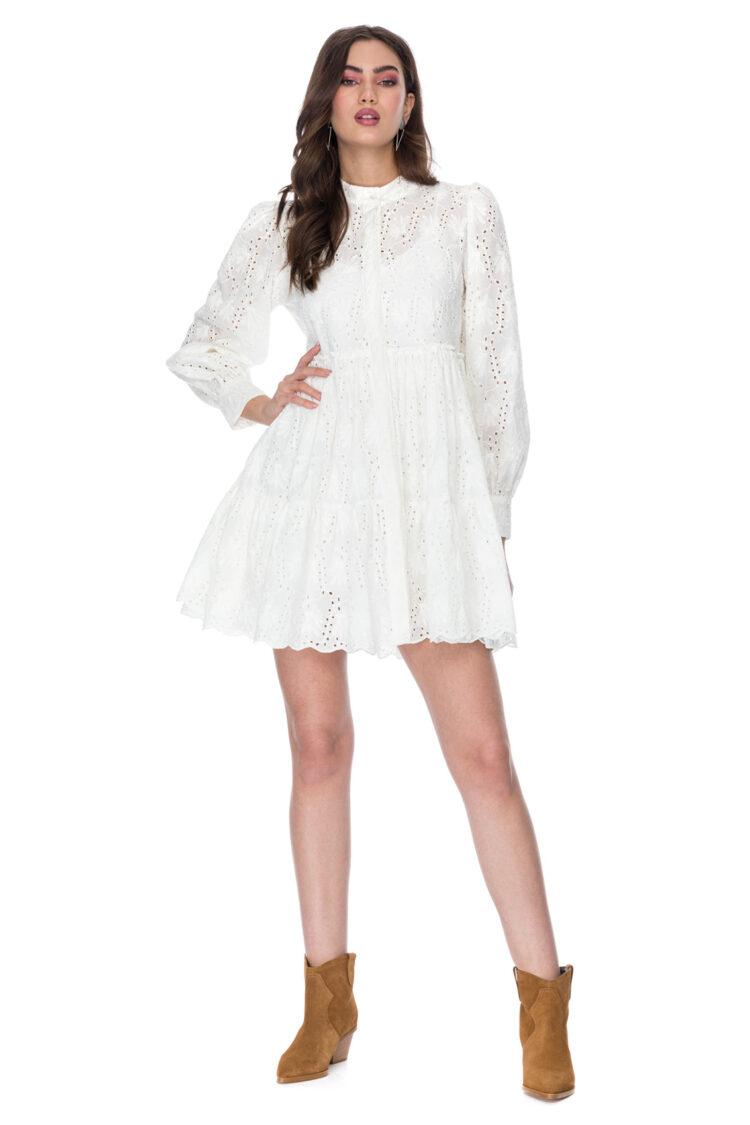 Rochie eleganta din bumbac brodat- Brenna