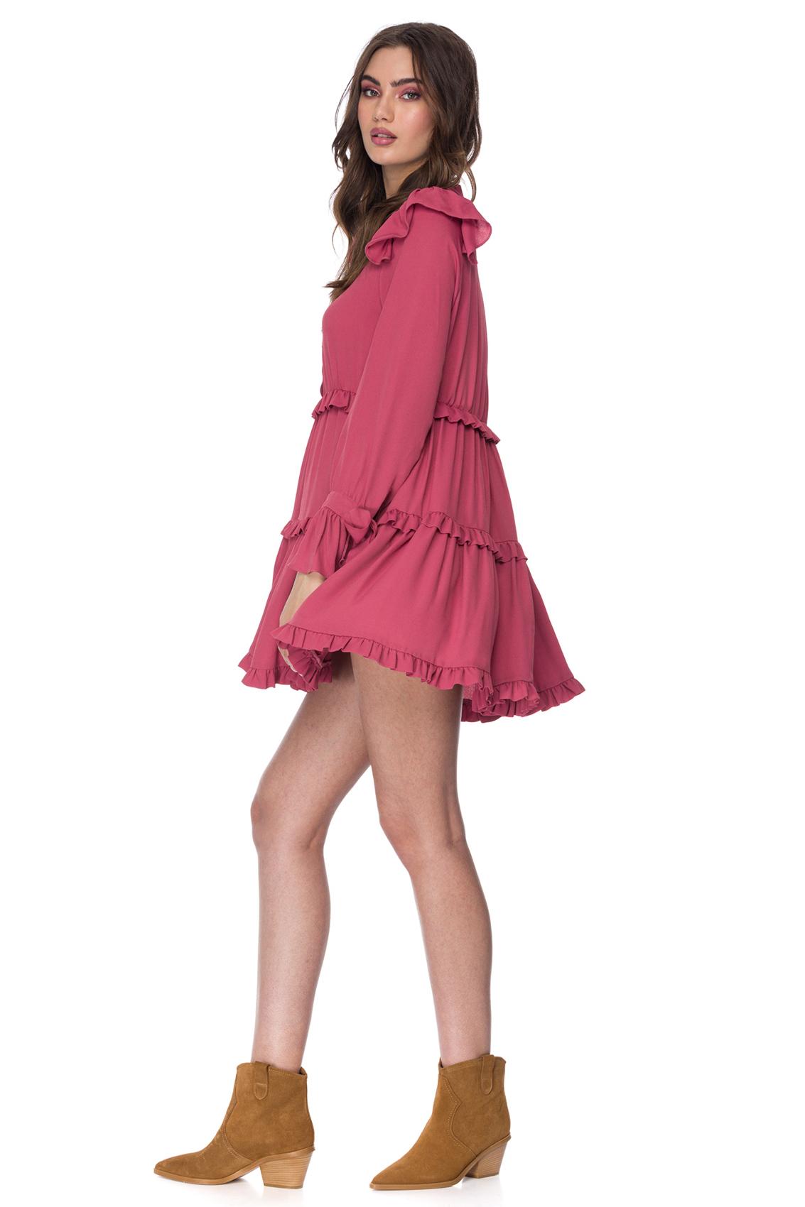 Rochie eleganta din matase roz Zelma