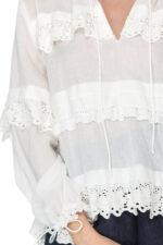 Bluza din bumbac cu dantela Maona