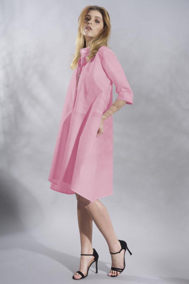 Rochie camasa roz din bumbac Malvina