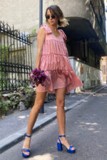 Rochie eleganta din matase roz Dafni