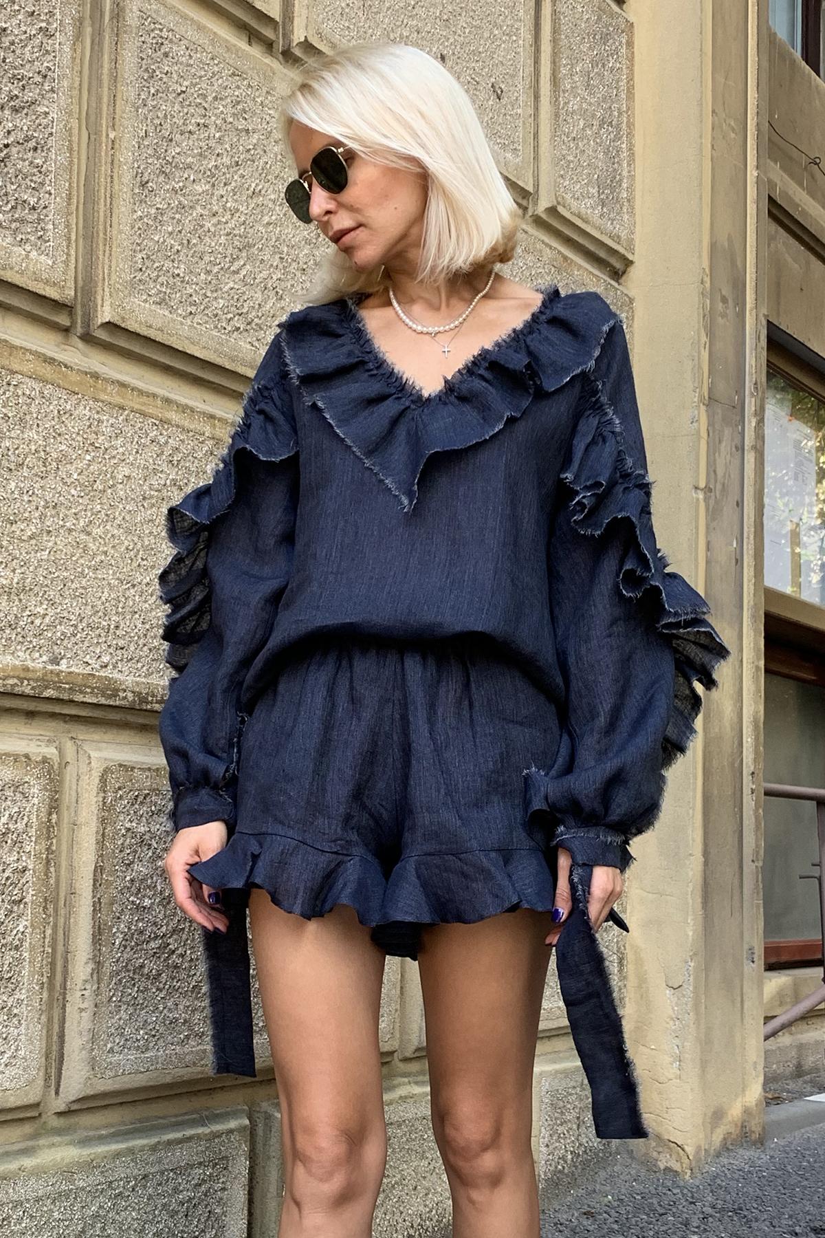 Bluza din in bleumarin cu volane Taleen