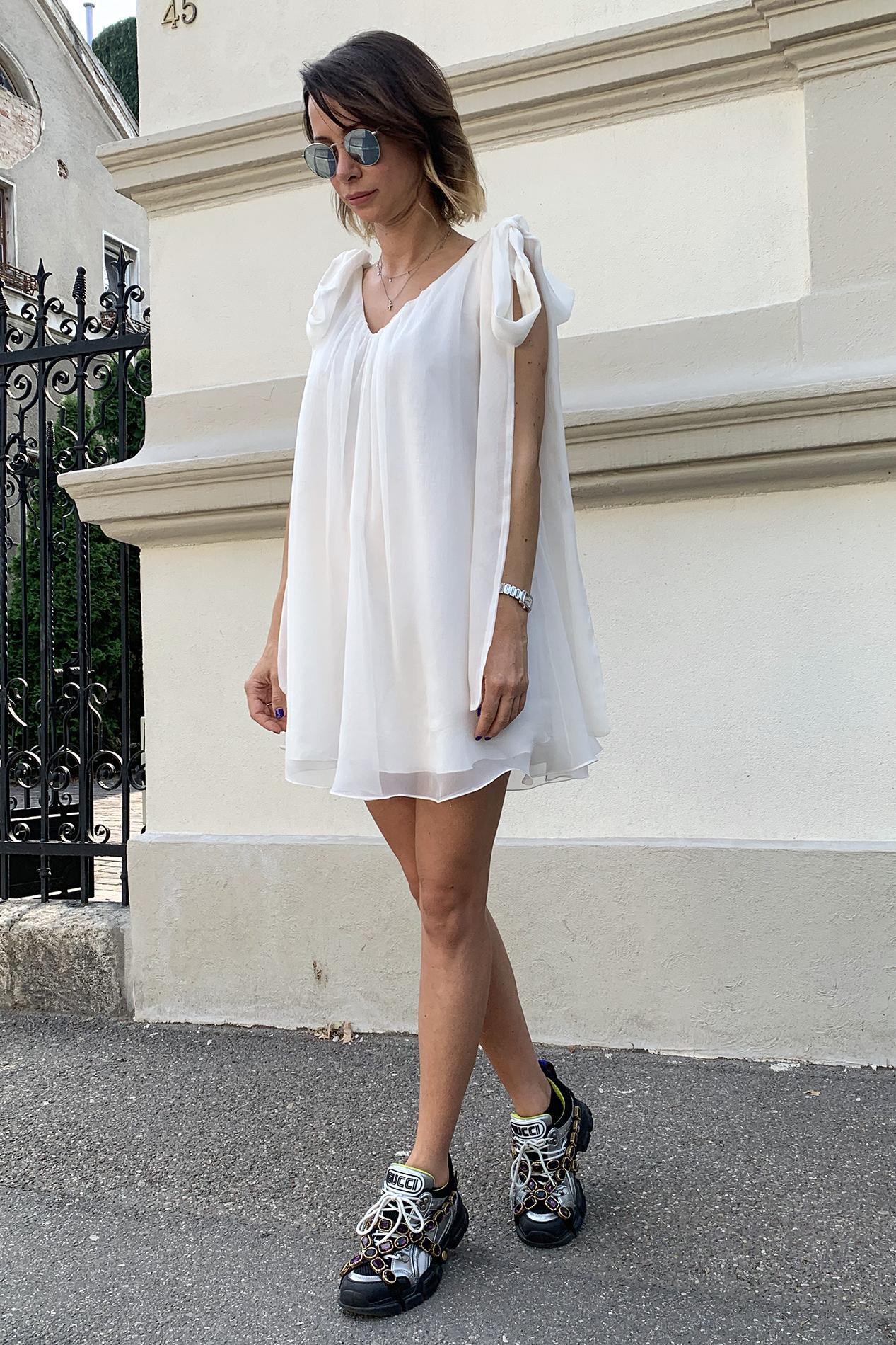 Rochie eleganta din matase alba Amaya