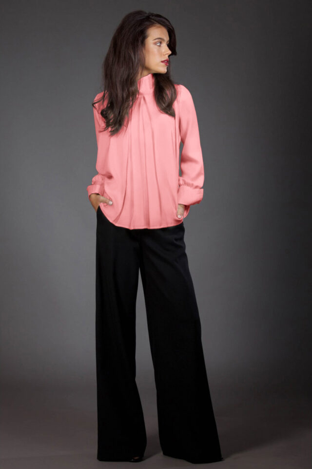 Bluza din matase roz Alisha